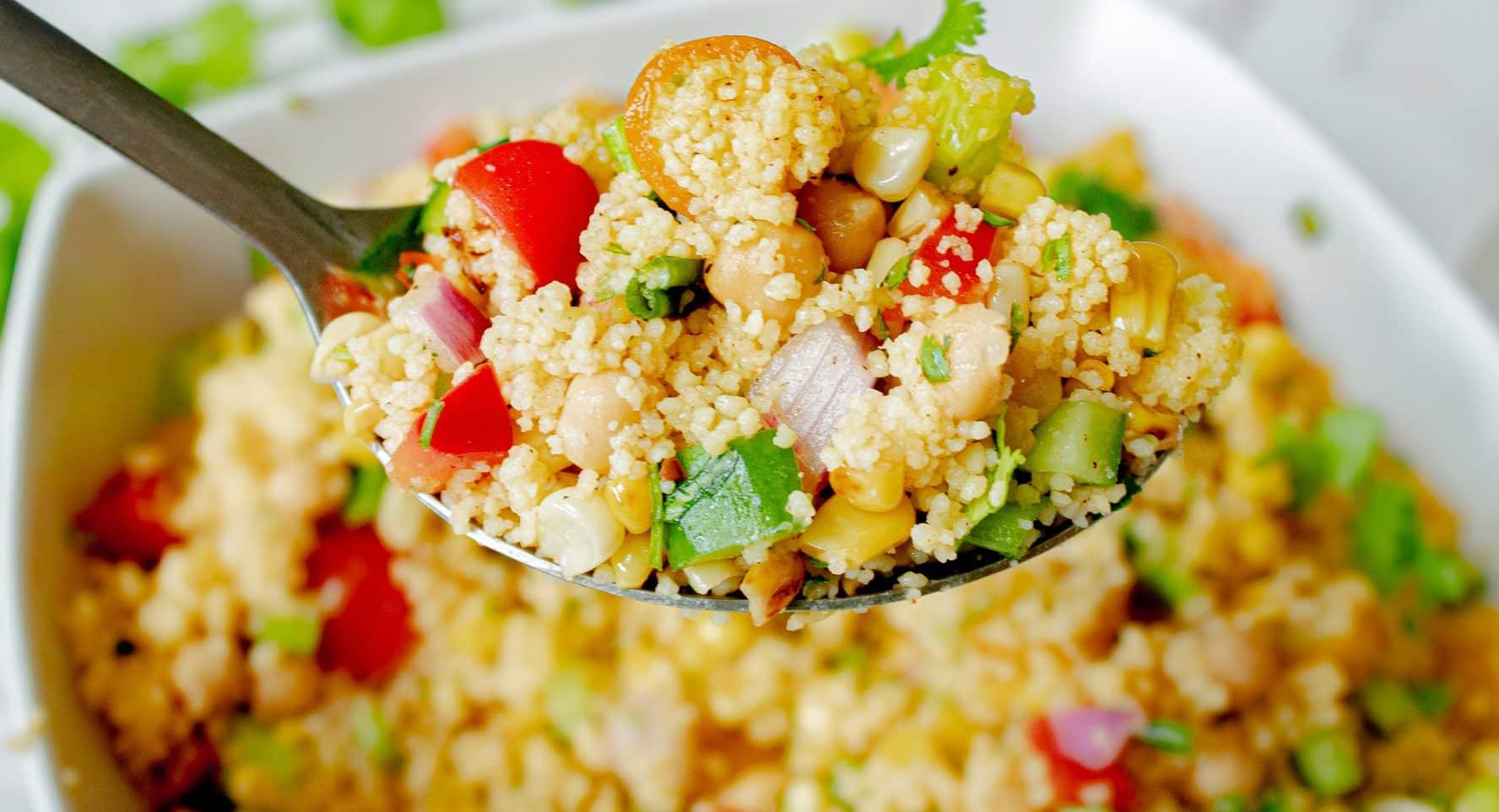 Vegan Couscous Salad - Cold Couscous Salad with Cumin Lime Dressing!   Chenée Today