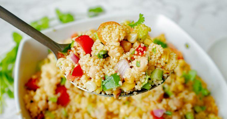 Vegan Couscous Salad with Charred Corn