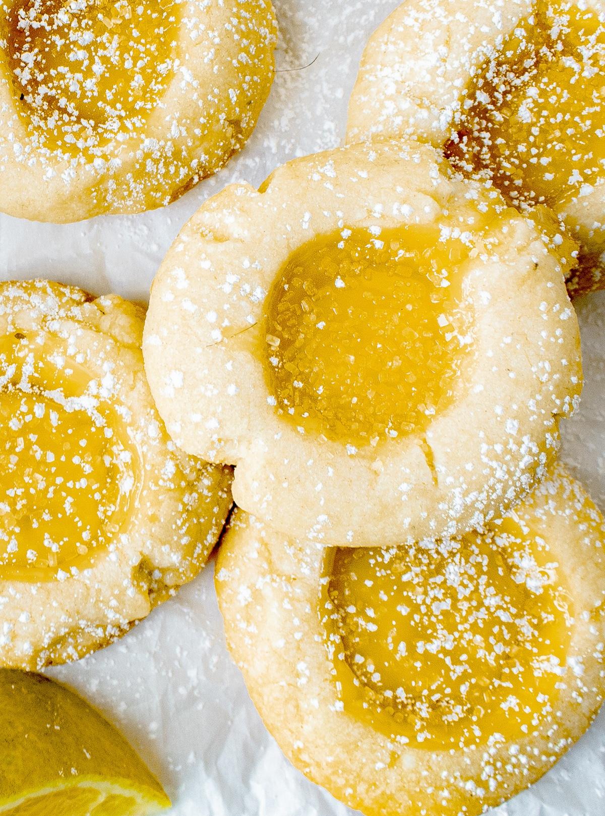 closeup of lemon curd cookies
