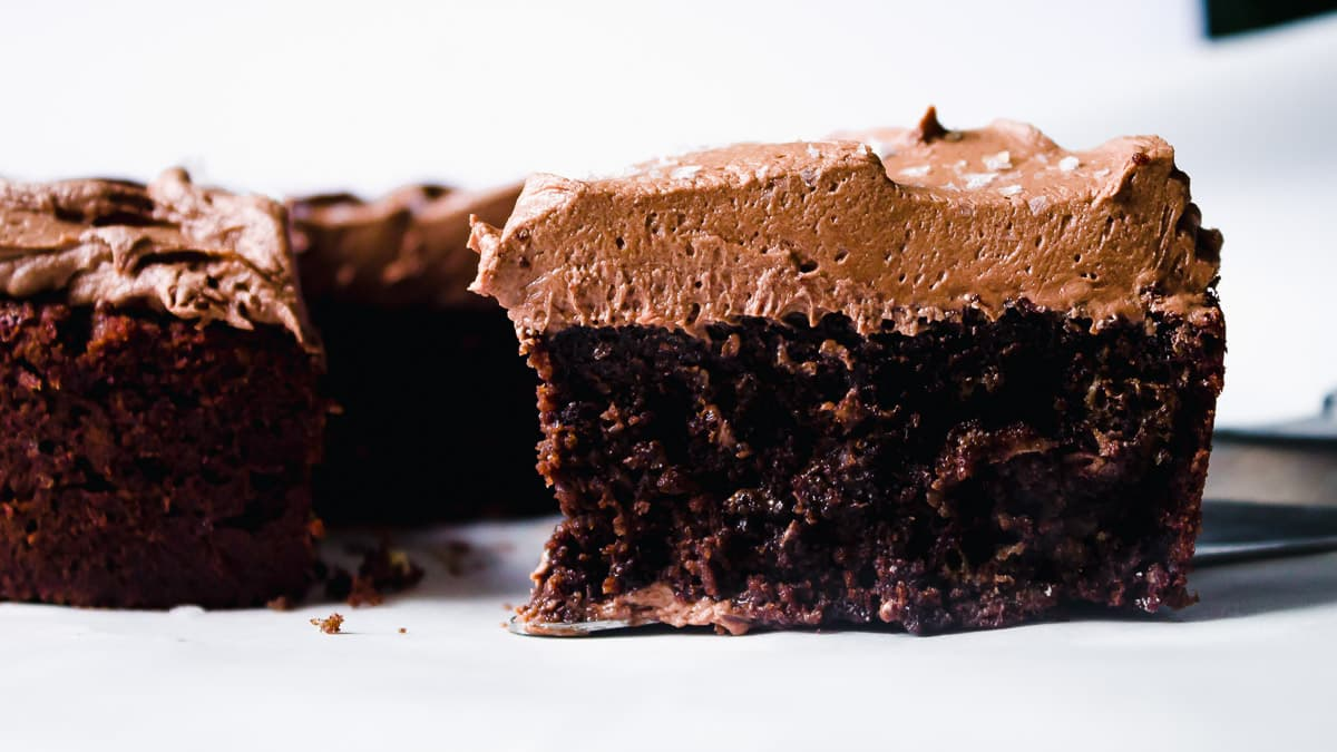 Close up of mini chocolate cake with a slice cut out