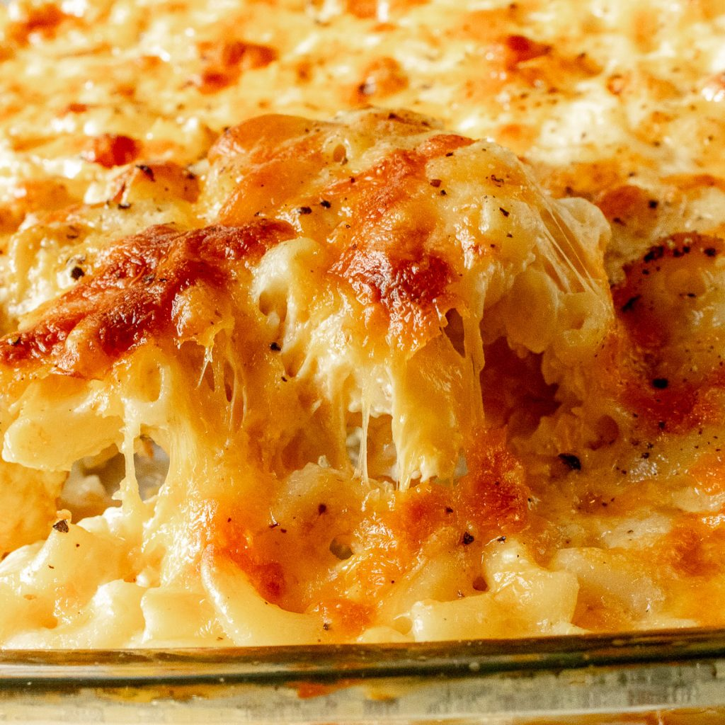 close up of southern baked mac and cheese