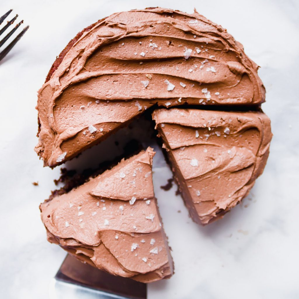 Overhead shot of cut mini chocolate cake