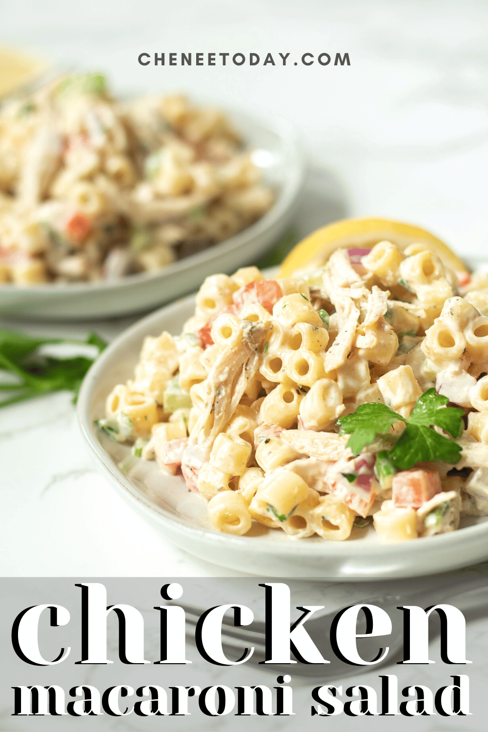 Chicken Macaroni Salad Recipe - So Easy with Leftover or Canned Chicken! | Chenée Today