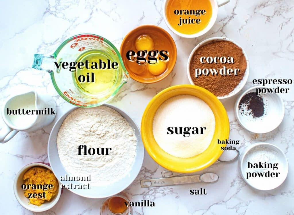 chocolate orange cake ingredients seen from above