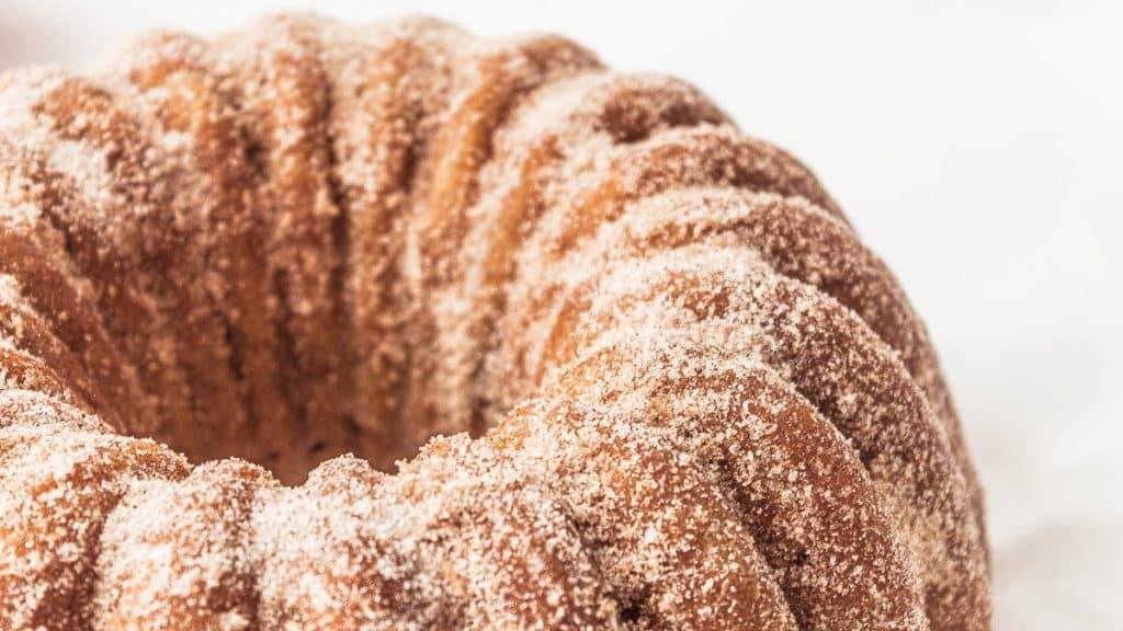 closeup of apple cider donut cake