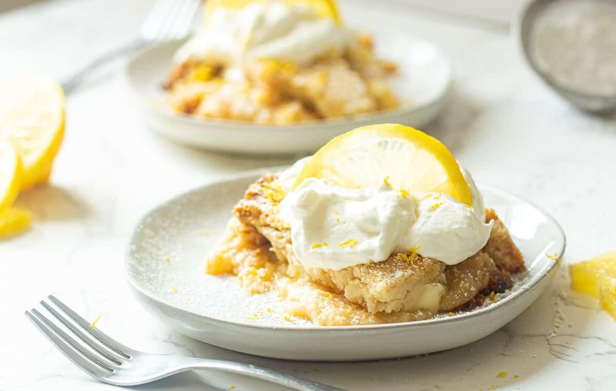 lemon curd dump cake served on plates