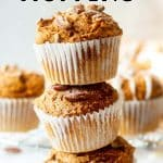 """stack of pumpkin muffins with the text """"3 ingredient pumpkin muffins"""""""
