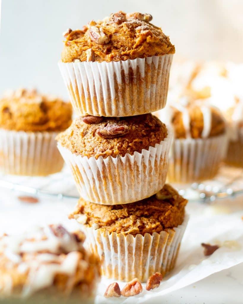 stack of pumpkin muffins