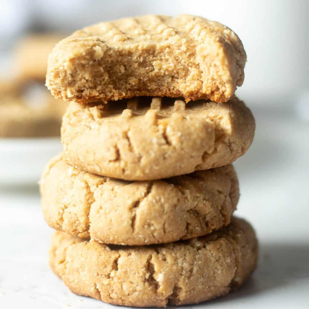 stack of almond flour peanut butter cookies