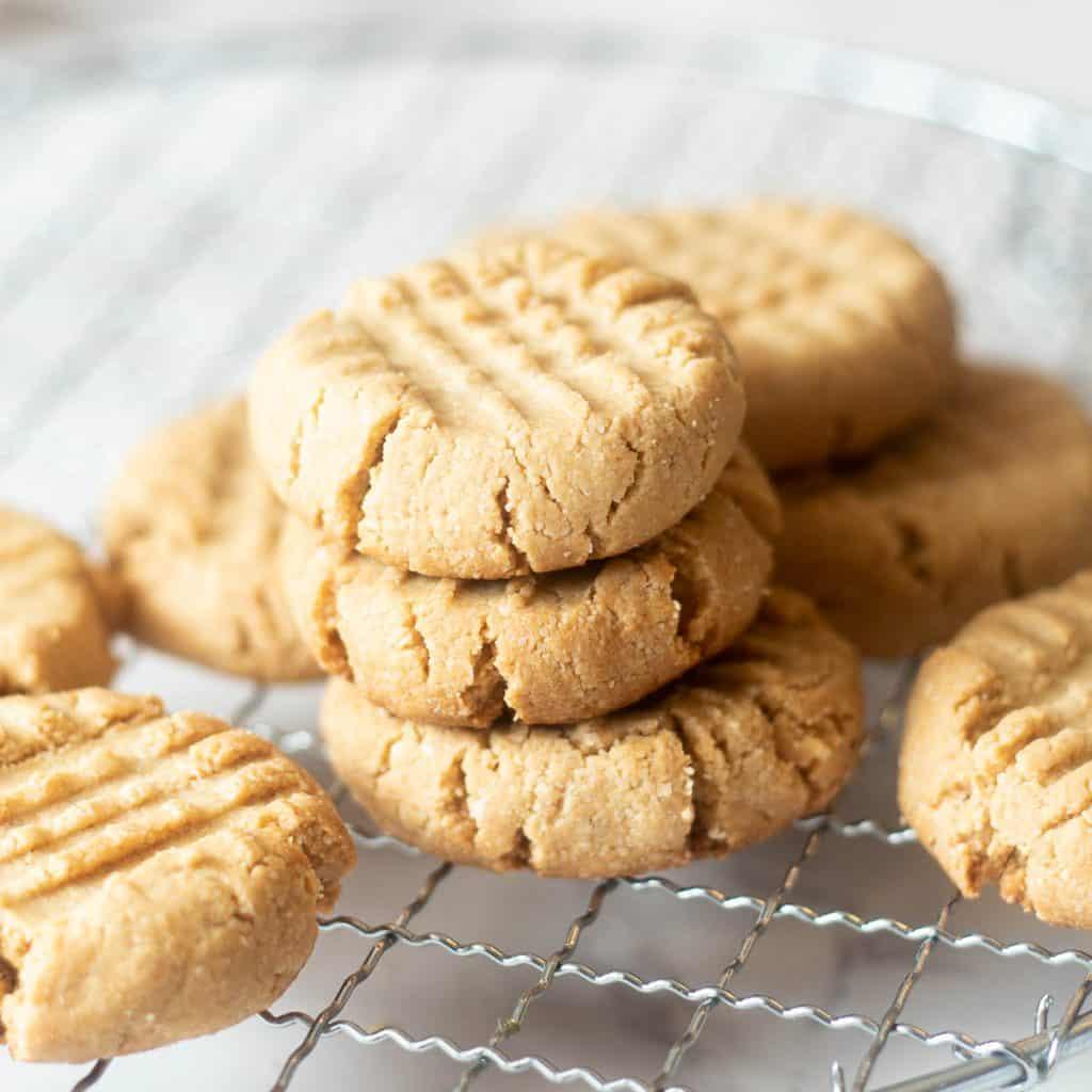 stacks of almond flour peanut butter cookies
