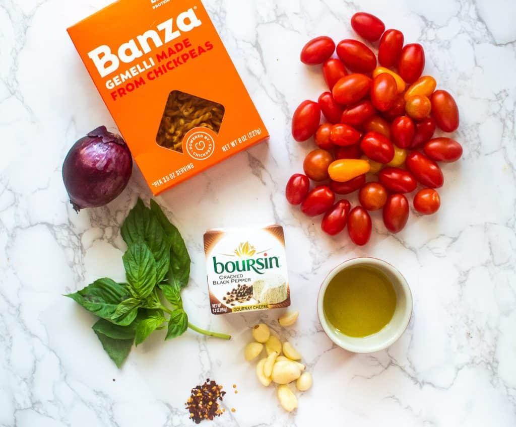 ingredients for baked boursin pasta