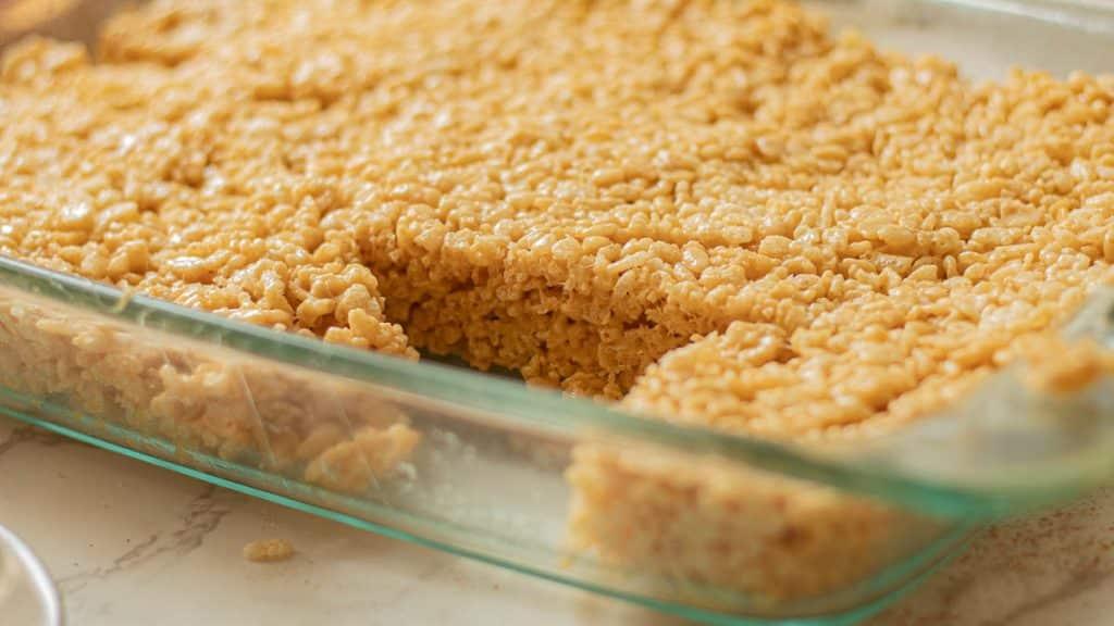 peanut butter rice krispie treats in the pan