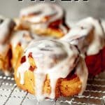 shot of air fryer cinnamon rolls with text: Air Fryer Cinnamon Rolls - Chenée Today
