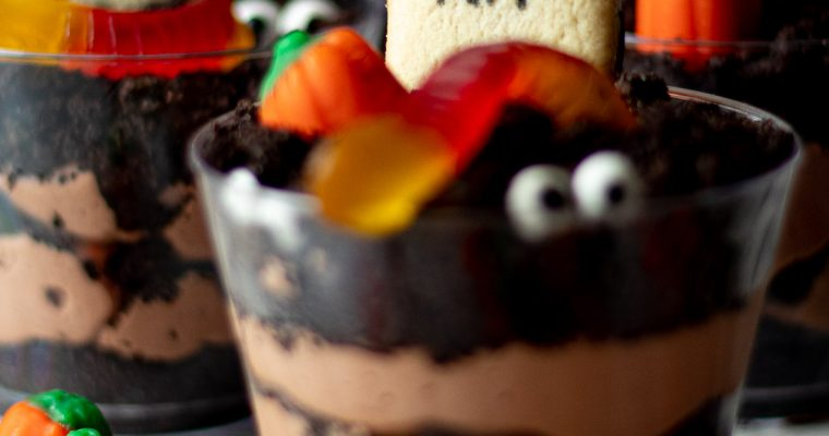 Halloween Dirt Cups with Chocolate Cheesecake Filling