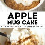 pin for apple mug cake showing apple mug cake with a spoonful taken out