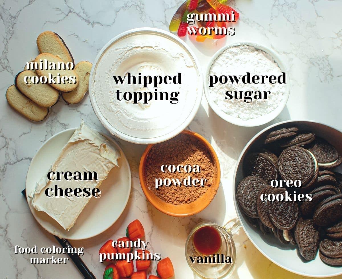 ingredients for halloween dirt cups