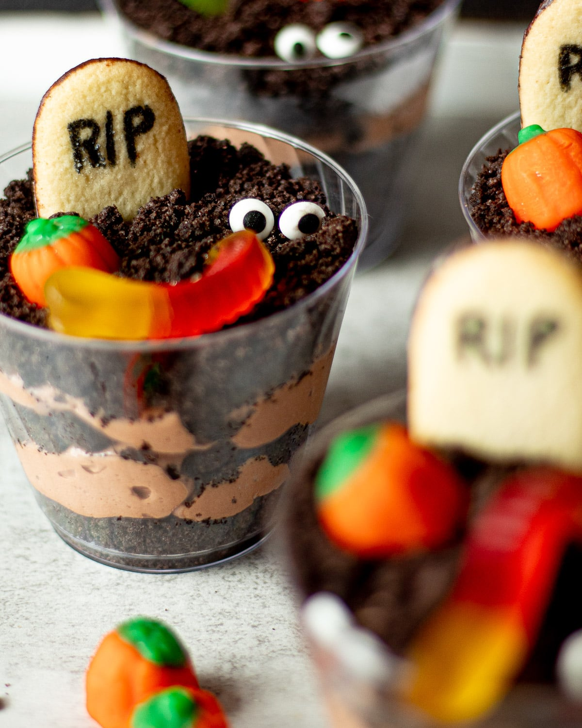halloween dirt cups from above